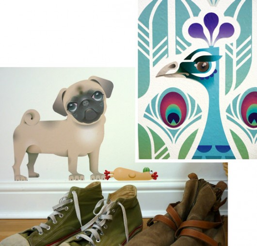 dog-peacock-wall-stickers