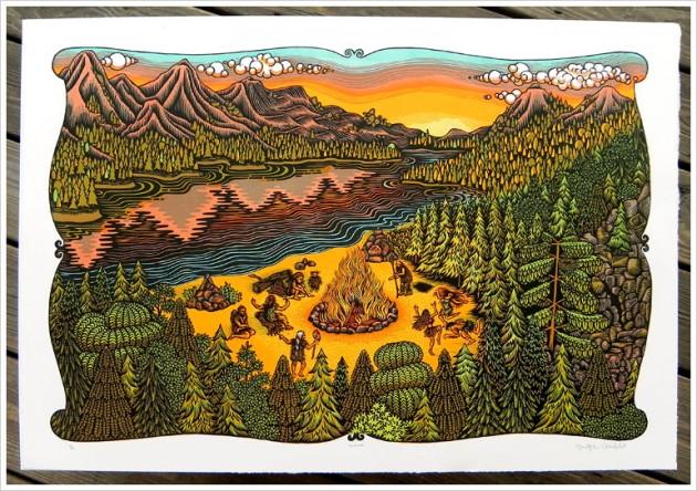 bonfire_woodcutprint