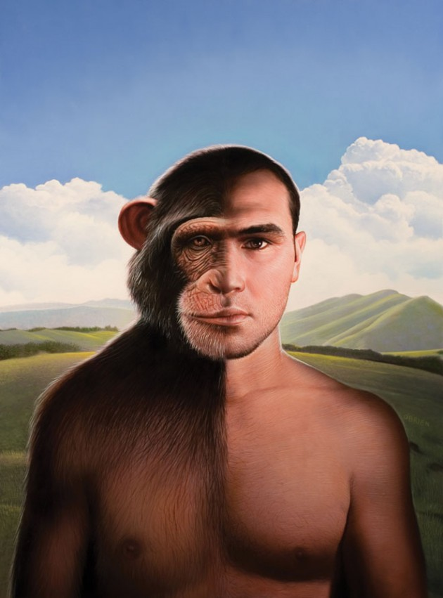 chimp man-painting by tim-obrien