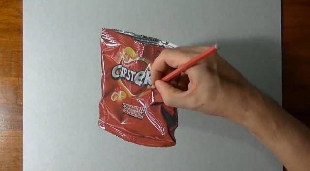 Passo a passo de uma pintura Hiper Realista de pacote de chips-4