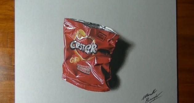 Passo a passo de uma pintura Hiper Realista de pacote de chips-5