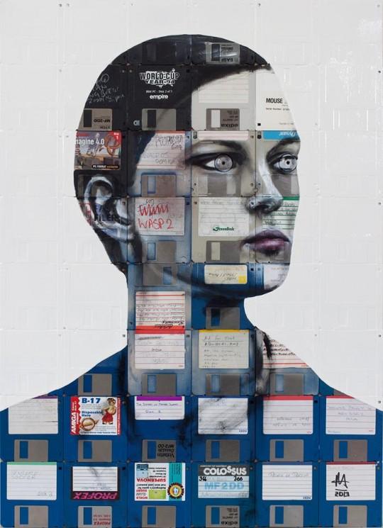 Nick Gentry e sua arte em disquetes