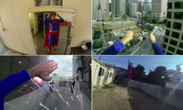 Superman with a go pro camera