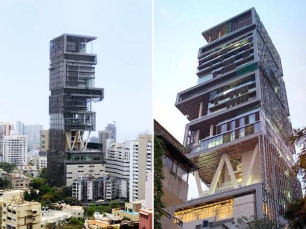 1) Antilia en Mumbai, en la India.  Es la Mukesh Ambani Propiedad, presidente de Reliance Industries.  Valorado en más de US $ 1 mil millones