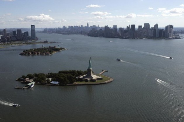 Aerial view of New York Harbor showing t