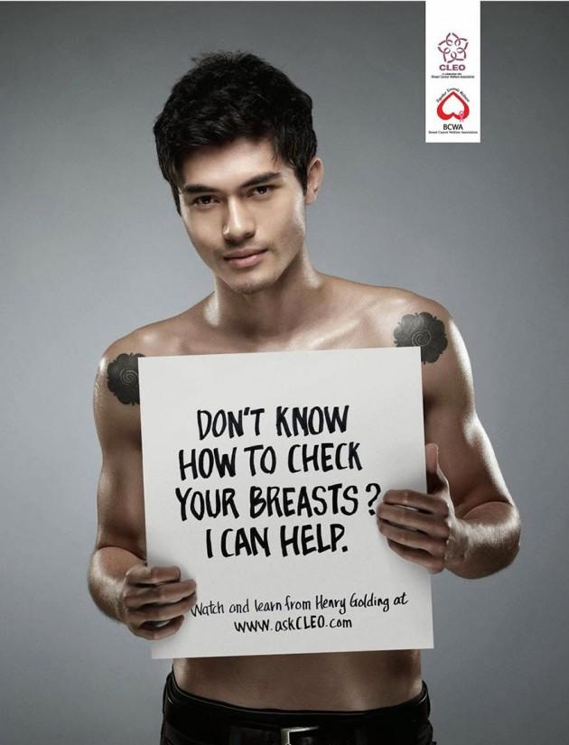 """Campanha da Revista Cleo: """"Não sabe como verificar seus seios? Eu posso ajudar."""""""