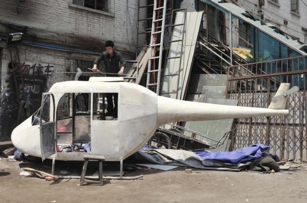 Helicóptero caseiro de Gao Hanjie.