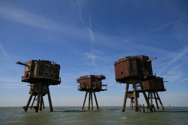 #4 - Fortes de Maunsell Sea, na Inglaterra. Construído para a defesa inglesa na Segunda Guerra Mundial.