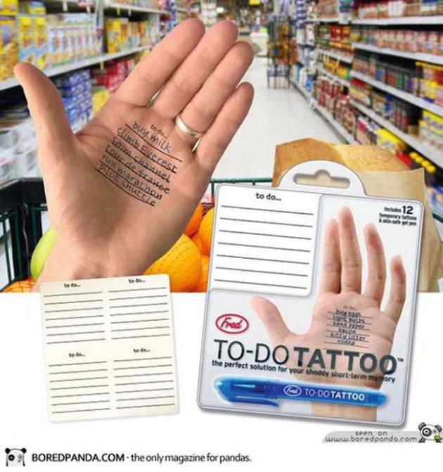 #10 - Adesivo de anotações de super mercado para suas mãos.
