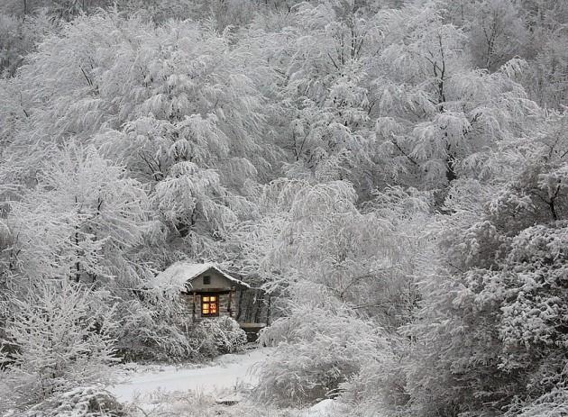 Cabana no frio do inverno