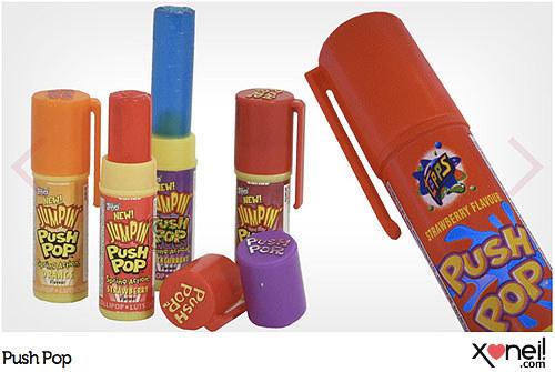 """Push Pop. Quem lembra da música?  """"Puxe o Push Pop, puxe gostoso, prove o push pop e guarde de novo"""""""