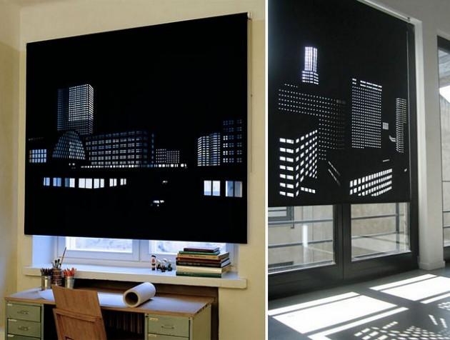 Cortina para simular prédios em uma cidade a noite.