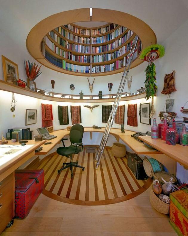 Biblioteca no teto da empresa ou da casa.