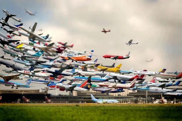 #14 -  Os vôos de um aeroporto em uma única foto.