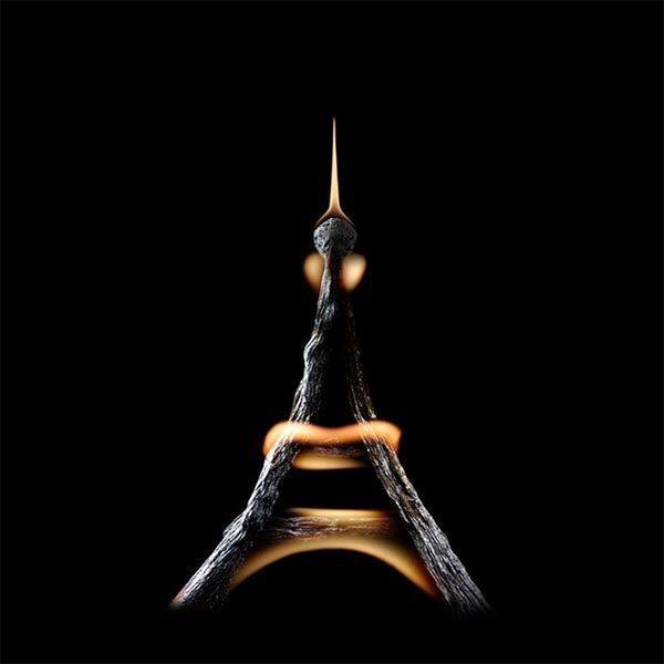 #4 - Torre Eiffel queimando feita de fósforo