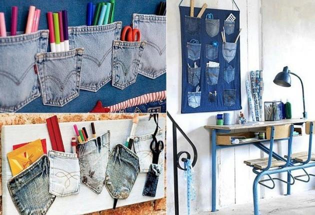 #8 - Calças Antigas? Você pode criar um porta coisas com os bolsos.