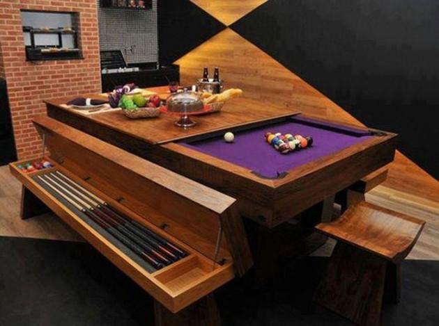 #9 - Mesa de bilhar ou de jantar? Ótimo para pequenos espaços