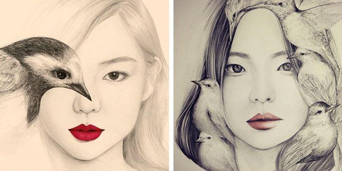 Rostos Desenhos: Rostos Femininos Ou Pássaros? Essas Ilustrações Irão