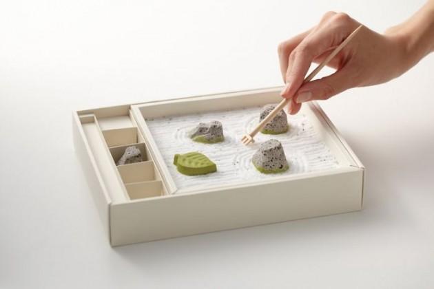 Caixa de chocolates com jardim zen