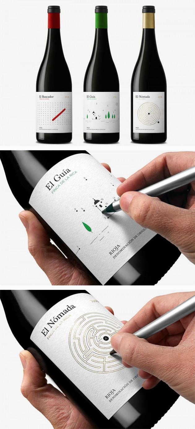 Embalagens de garras de vinho interativas