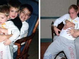 Irmãos recriam fotos estranhas da infância como um presente de dia das mães