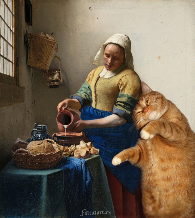 Vermeer-the-milkmaid-cat