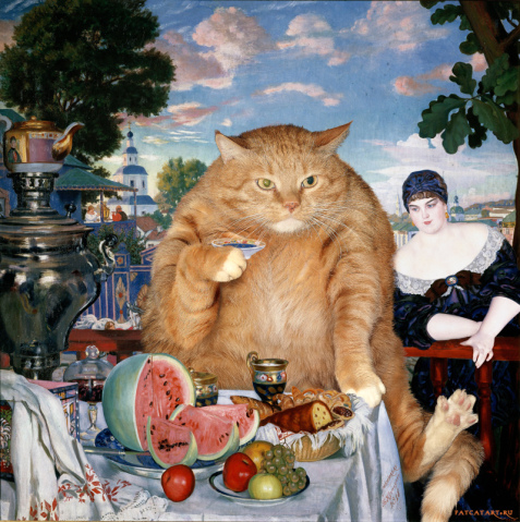 kustodiev_boris_-_merchants_wife_at_tea_-cat-w-477x479