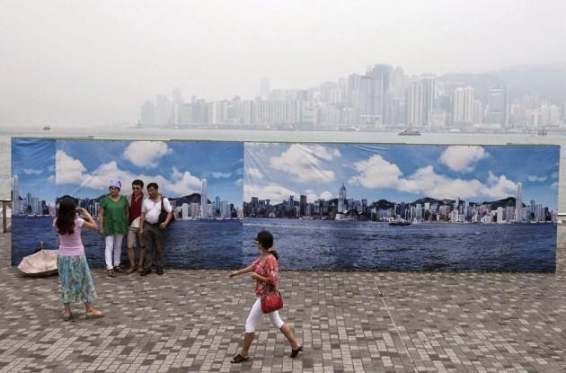 Céu falso para registrar uma foto em Hong Kong
