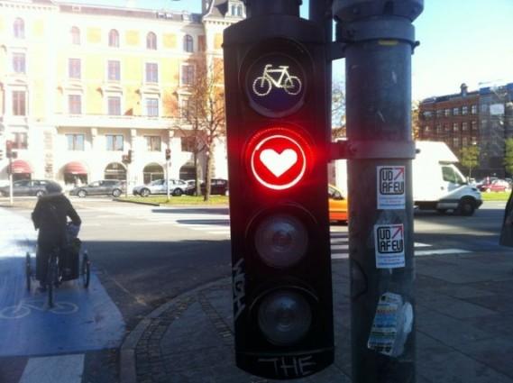 Semáforo de coração em Copenhague, Dinamarca