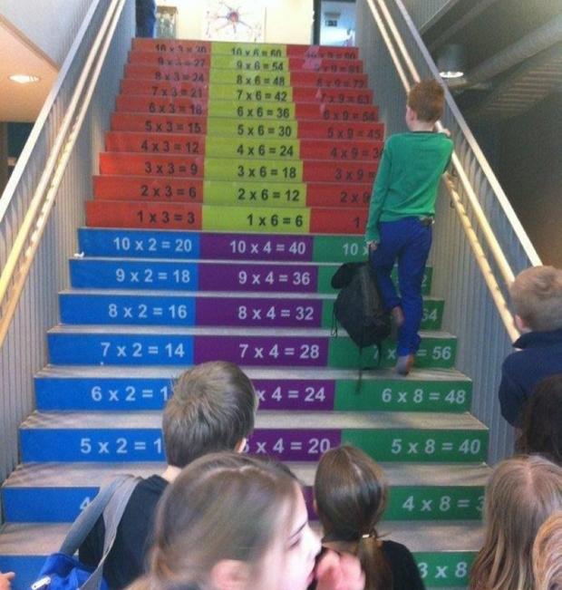 Ensinando os alunos a contarem subindo escadas.