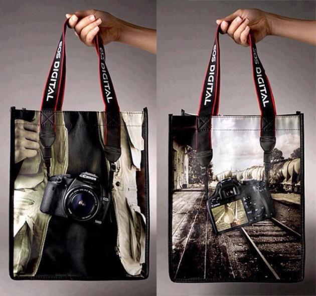#17 -Conceito muito bacana de sacolas de uma câmera fotográfica
