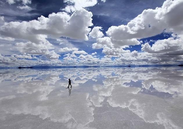 Maior área de produção de Sal do Mundo, em Uyuni, Bolívia.