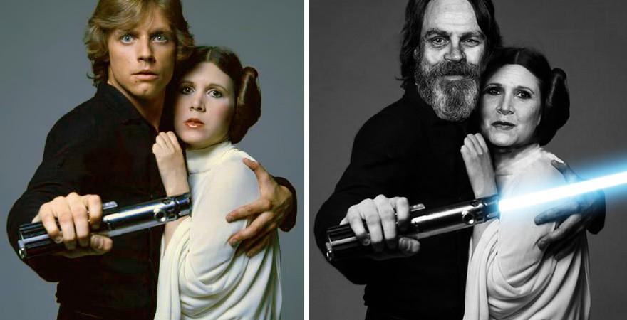 Mark Hamill e Carrie Fisher como Luke Skywalker e Princess Leia, 1977 e 2015