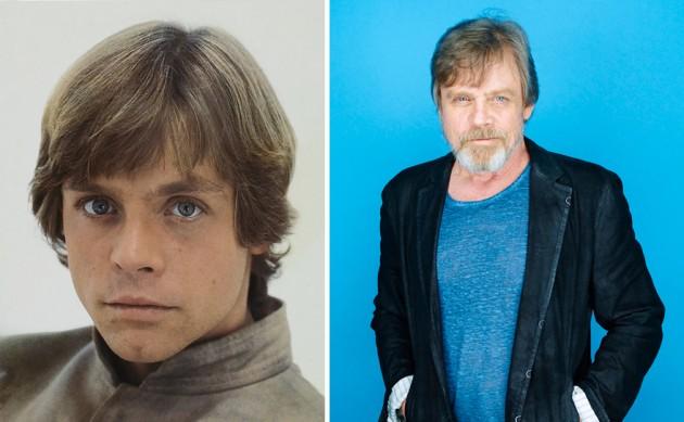 Mark Hamill e Luke Skywalker, 1980 e 2015