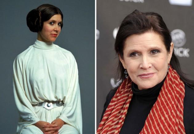 Carrie Fisher e Princesa Leia, 1977 e 2015