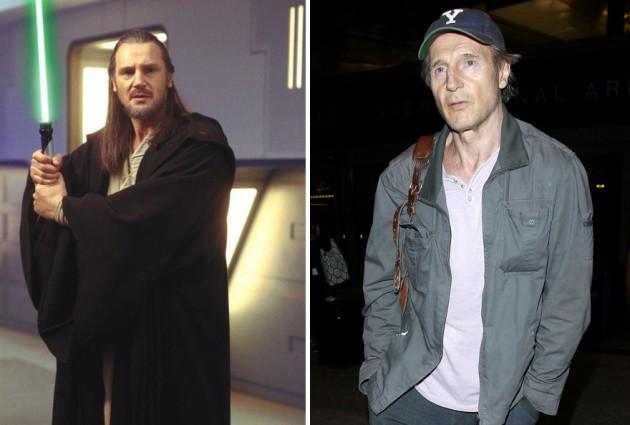 Liam Neeson e Qui-Gon Jinn, 1999 e 2015