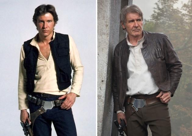 Harrison Ford e Han Solo, 1980 e 2015