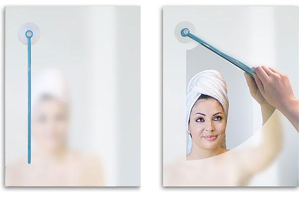 Limpador de espelho embaçado.