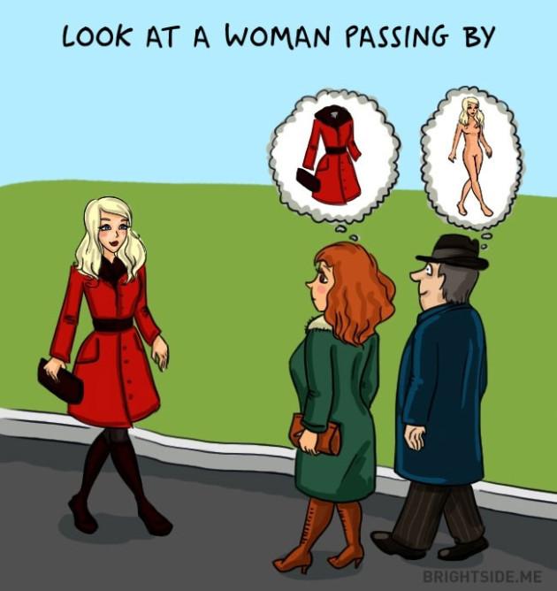 Olhando uma mulher passando