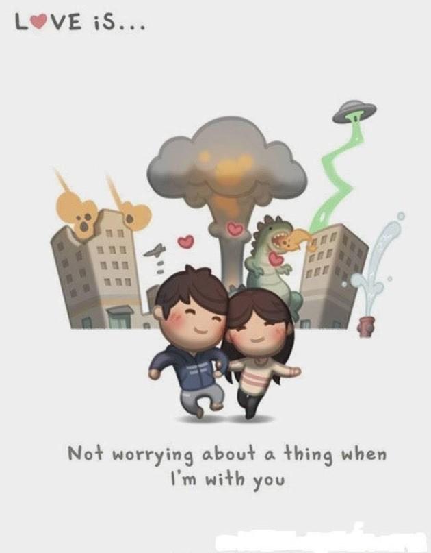 Não se preocupar com as coisas quando estou com você.