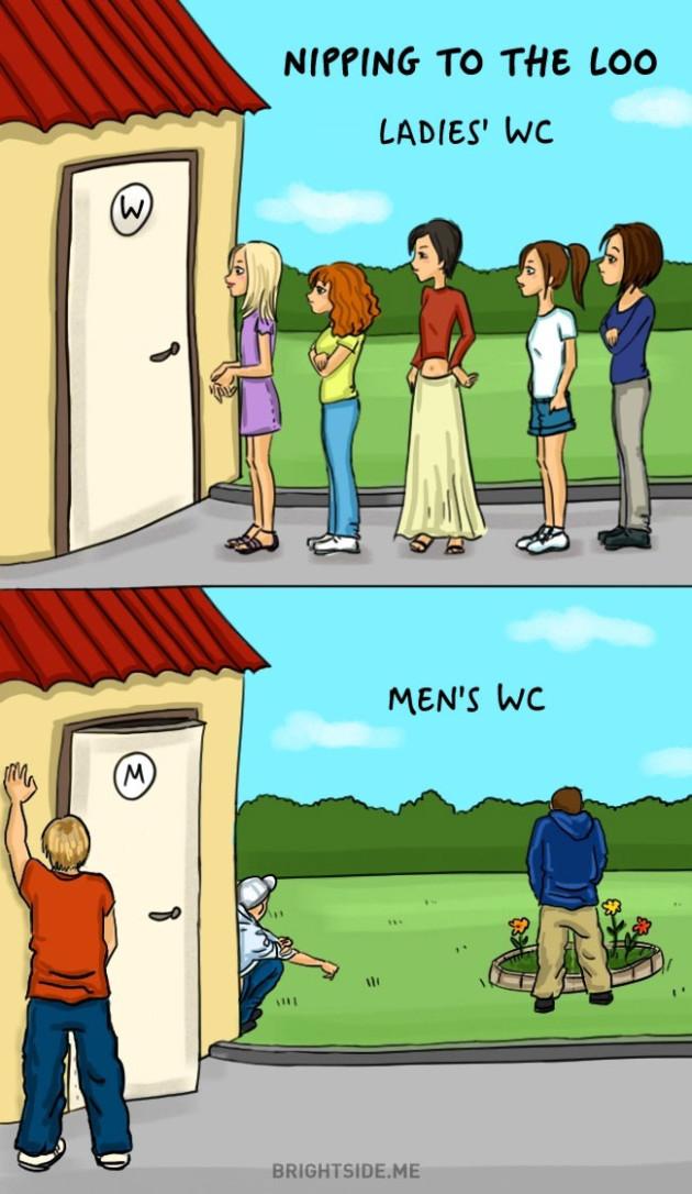 Na hora de ir ao banheiro.