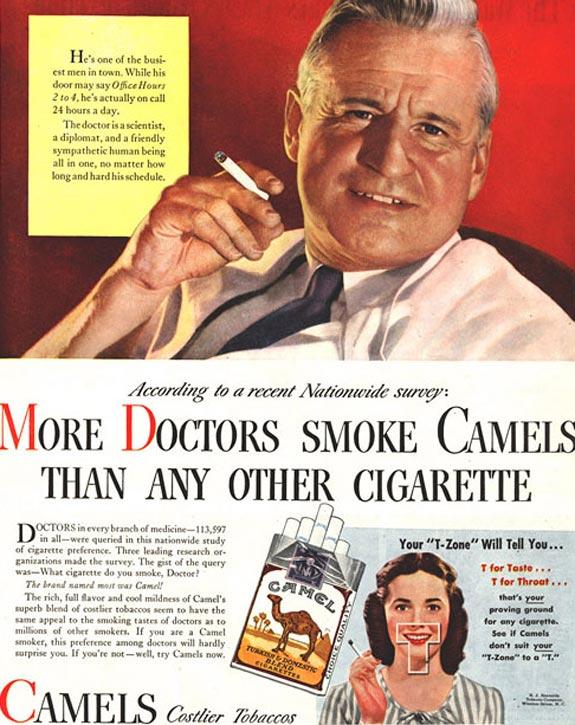 Médicos fumam mais Camel do que qualquer outro cigarro