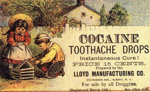Cocaína! A dor de dentes desaparece. Cura instantânea
