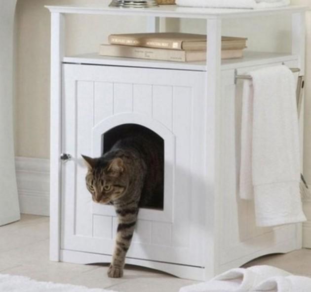 #12 - Banheiro especial para gatos com uma bandeja de areia dentro do armário