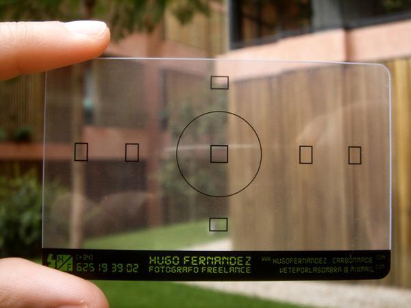 Cartão de visita de um fotógrafo.