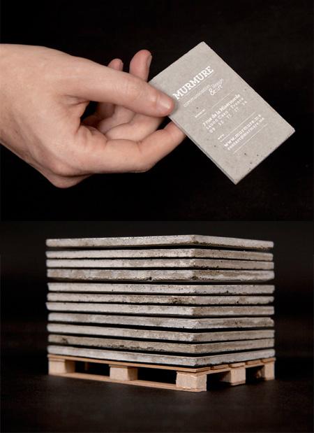 Cartão de visitas de um engenheiro civíl feito de concreto