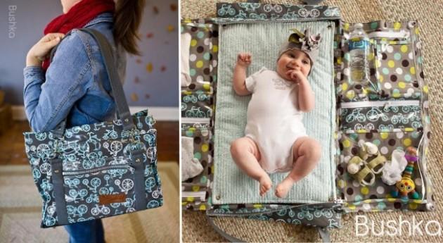 Essa bolsa vira um trocador para o bebê.