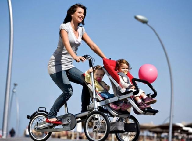 Bicicleta com garupa para as crianças.