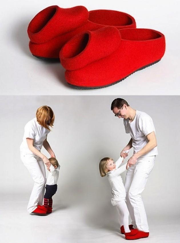 Pantufa para quem está aprendendo a caminhar e precisa de uma ajuda dos pais