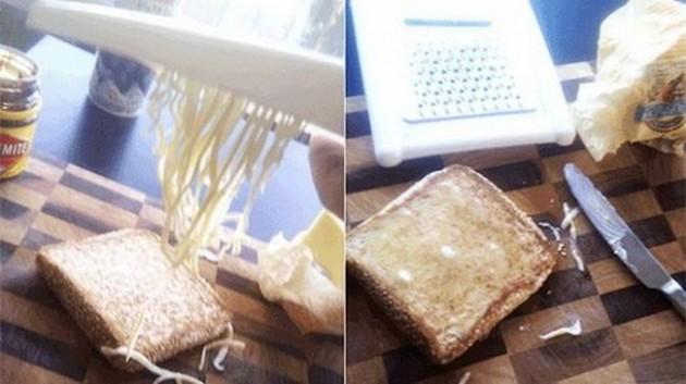 #10 - Se a manteiga estiver na dura, tente ralar antes de passar no pão. Vai ajudar muito e não vai ficar aquelas pedras.